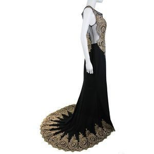 Black Gold Embroidered New Years Formal Gown Dress